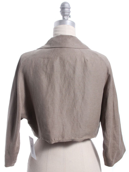 MILLY Taupe Cropped Open Front Jacket Sz 6