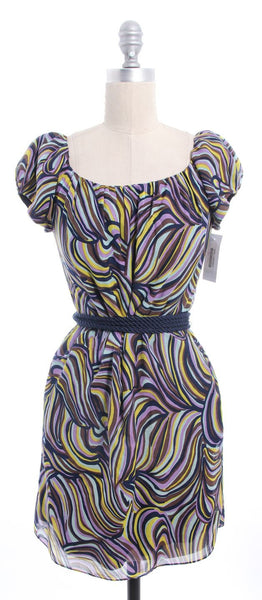 MILLY Navy Yellow Print Cap Sleeve Rope Belted Dress Sz 2