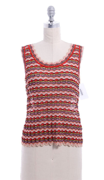 MISSONI Beige Red Metallic Print Sleeveless Knit Top Sz 10 IT 46