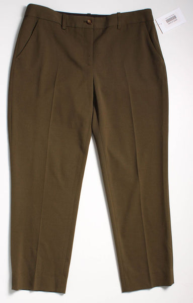 MICHAEL KORS Olive Green Cropped Tapered Pants Sz 6