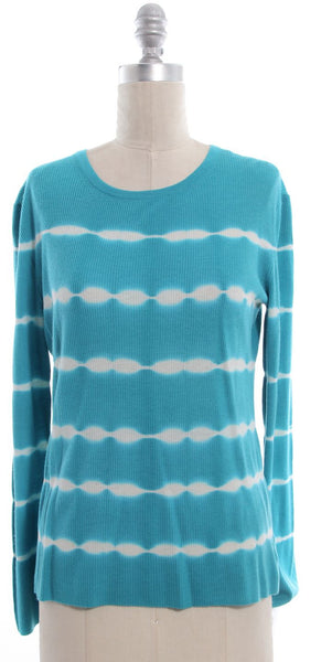 MICHAEL KORS Teal White Stripe Cashmere Crew Neck Sweater Sz M