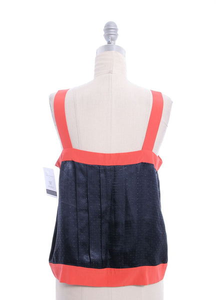 MARC BY MARC JACOBS Coral Navy Silk Sleeveless Pleated Top Sz 8
