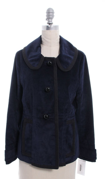 MARC BY MARC JACOBS Blue  100% Cotton Corduroy Black Trim Jacket Sz 8