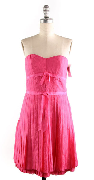 MARC BY MARC JACOBS NWT $398 Pink Bow Strapless Pleated Dress Sz 4