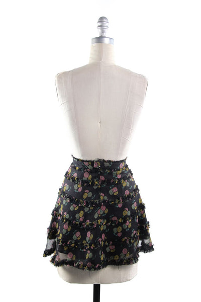MARC BY MARC JACOBS Black Multi Floral Silk Tiered Mini Skirt Sz 2
