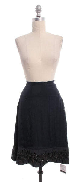 MARNI Navy Beaded Sequin Midi Skirt Sz 2 IT 38