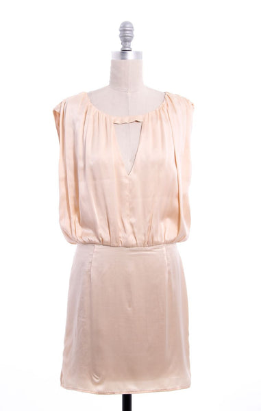 OPENING CEREMONY Light Peach Silk Open Back Sleeveless Dress Sz M