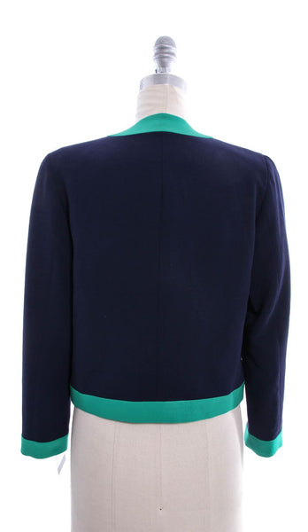RALPH LAUREN BLACK LABEL Blue Green Wool Colorblock Crop Jacket Sz 8