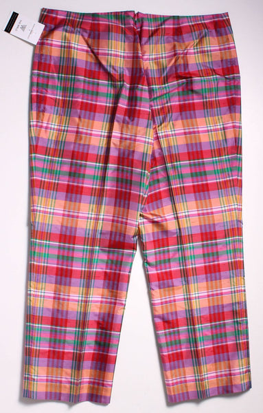 RALPH LAUREN BLACK LABEL Multicolor Plaid Silk Straight Pants Sz 14