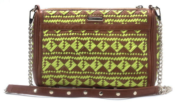 REBECCA MINKOFF Tan Neon Green Woven Mac Large Chain Shoulder Bag