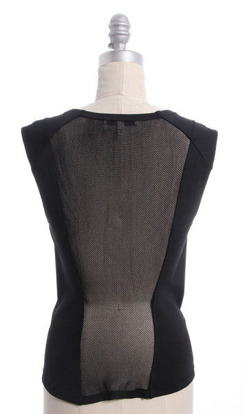 ROBERT RODRIGUEZ Black Mesh Back Stretchy Top Sz 2