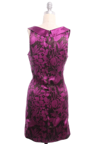 REBECCA TAYLOR Purple Brown Floral Print Silk Sleeveless Dress Sz 4