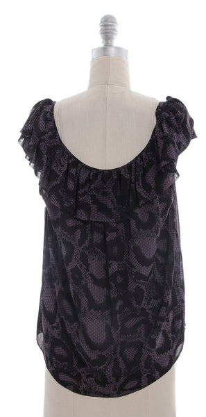 REBECCA TAYLOR Purple Animal Print Sleeveless Top Sz 10