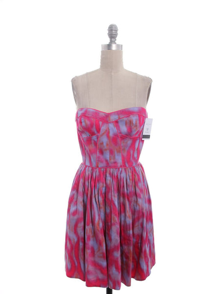 REBECCA TAYLOR Pink Purple Print Strapless Dress Sz 6