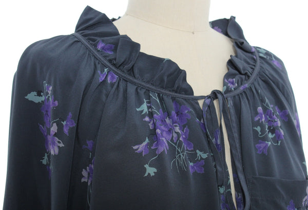 REBECCA TAYLOR Breezy Slate Gray Silk Blouse w/ Purple Floral Print. Size 6.