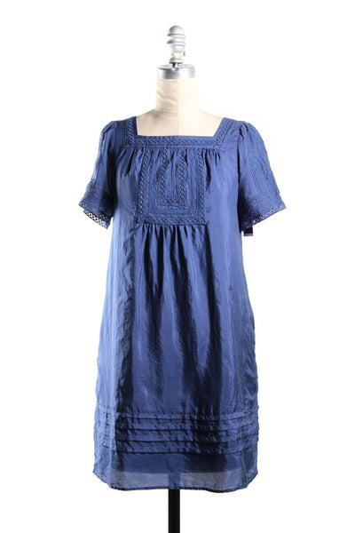 SEE BY CHLOÉ Blue Silk Embroidered Trim Short Sleeve Shift Dress Sz 4