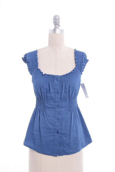 THEORY Blue Sleeveless Ruffle Neck Linen Top Sz P