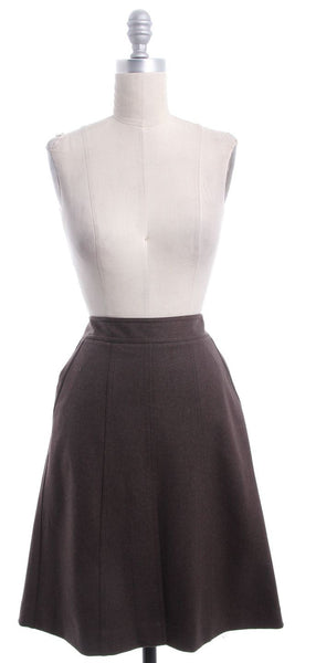 THEORY Brown Wool Front Slit Skirt Sz 6