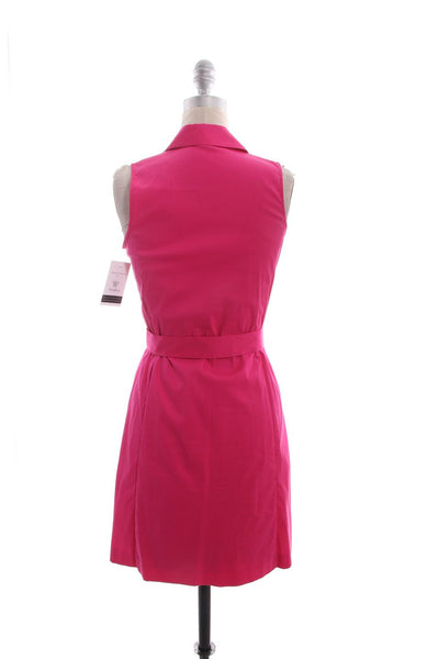THEORY Hot Pink Button Down Sleeveless Belted Dress Sz 0