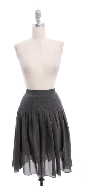 THEORY Gray Striped Pleated Mid Knee Skirt Sz 4