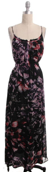 THEORY Black Purple Pink Floral Print Sleeveless Maxi Dress Sz P
