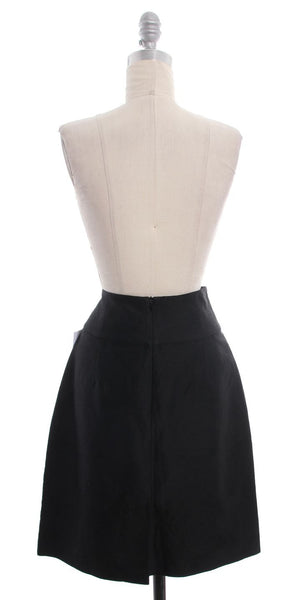 THEORY High Waisted A-Line Black Brocade Skirt Size 6