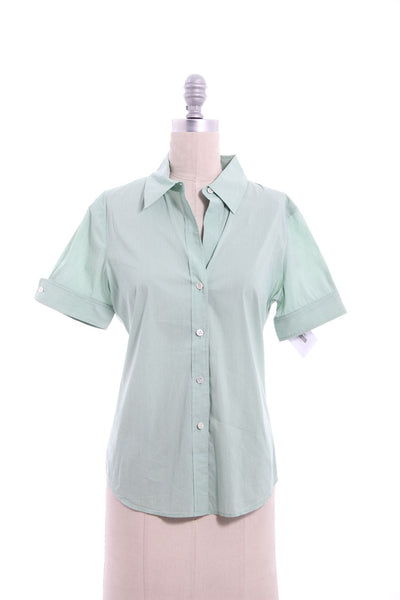 THEORY Green Narrow Stripe Button Down Short Sleeve Blouse Sz M