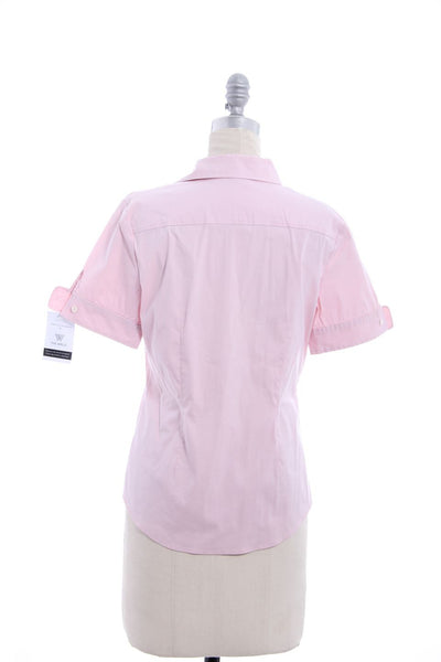 THEORY Pink Button Down Short Sleeve Blouse Sz M
