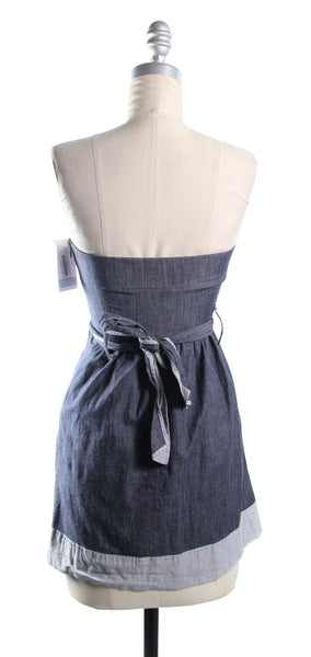 THEORY Blue Strapless Belted Jean Tunic Size 0