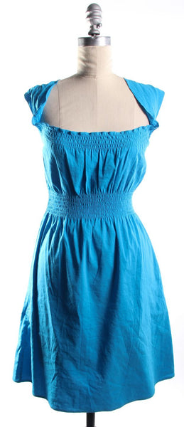 THEORY Blue Linen Ruched Neck and Waist Sundress Size Small