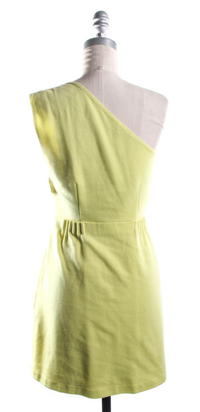 THEORY Yellow-Green One Shoulder Sheath Dress With Ruched Waist Size 6