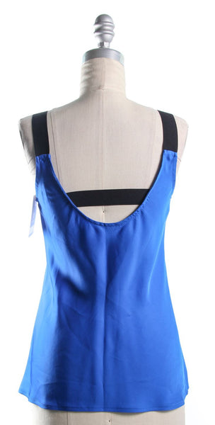 THEORY Cobalt Blue Back Strap Detail Tank Top Size P
