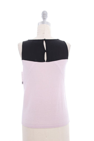 TIBI Black Pink Beaded Sleeveless Top Sz XS