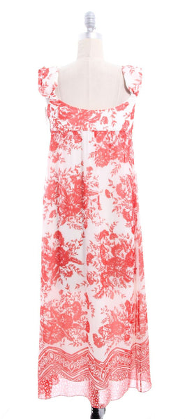 TIBI Red White Floral Print Sleeveless Maxi Dress Fits Like Size S