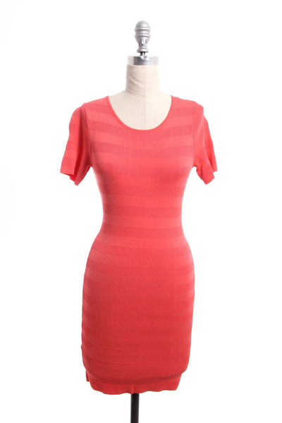 TORN BY RONNY KOBO Pink Texture Striped Short Sleeve Sheath Dress Sz S