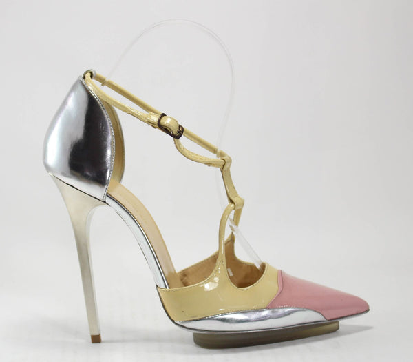 BALENCIAGA Nude Pink Silver Ankle Strap D'orsay Pumps Sz 36