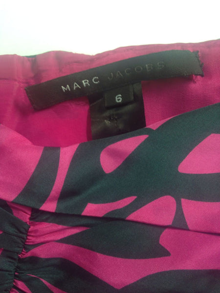 MARC BY MARC JACOBS Pink Hunter Green Print Empire Sleeveless Dress Sz 6