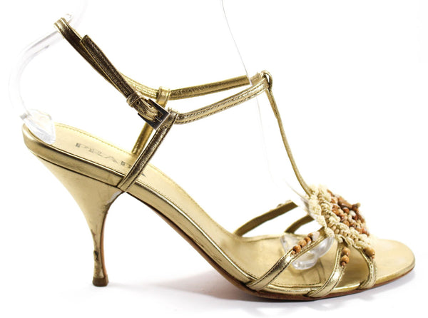PRADA Metallic Gold Leather Beaded T-Strap Heels Sz 39.5