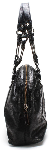 TORY BURCH Black Crackled Leather Dome Tote Bag