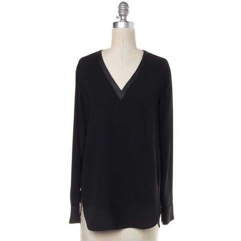 VINCE Black V Neck Long Sleeve Blouse Size 0
