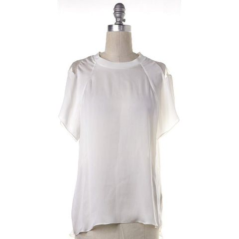 THEYSKENS' THEORY NEW NWT White Silk Sheer Blouse Top Size S