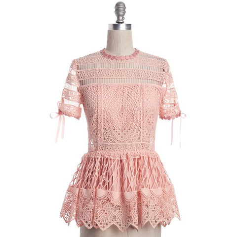 ALEXIS Pink Crochet Lace Sheer Panels Bow Trim Peplum Blouse Top Size S