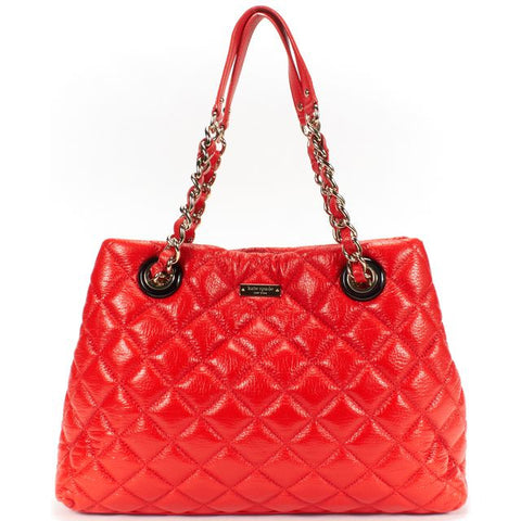 KATE SPADE Authentic Red Quilted Leather Gold Chain Shoulder Bag