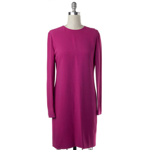 CALVIN KLEIN COLLECTION Fuchsia Pink Long Sleeve Shift Dress Size 8 IT 44