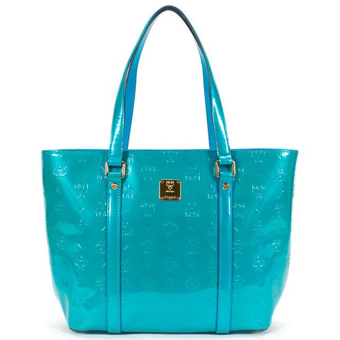MCM Authentic Teal Green Patent Leather Monogram Ivanna Tote Bag