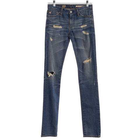 AG ADRIANO GOLDSCHMIED Blue Premier Skinny Straight Distressed Jeans Size 24