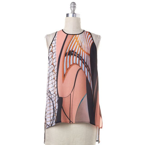 CLOVER CANYON Orange Pink Abstract Print Tank Top Size M