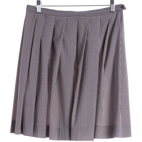 MIU MIU White Blue Red Check Pleated Nylon BlendSkirt Size 6 IT 42
