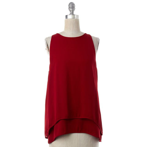 THEORY Red Silk Lyalka Overlay Sleeveless Blouse Top Size S