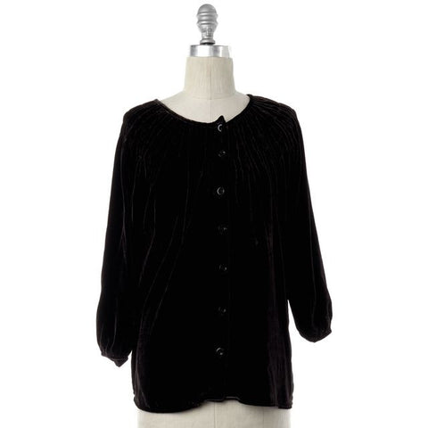 TUCKER Brown Velvet Button Down Blouse Top Size P